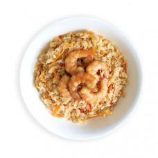 Креветки в остром соусе с рисом и овощами